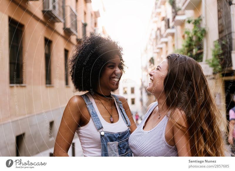 Beautiful women having fun in the street. Woman Friendship Afro Youth (Young adults) Happy Summer Portrait photograph Human being Joy Smiling Walking Racism