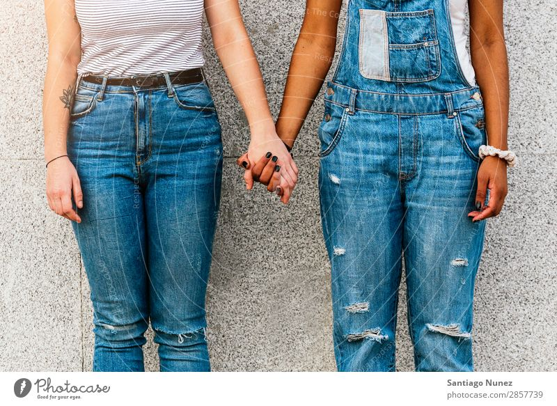 Close up of hands of diverse races. Woman Friendship Youth (Young adults) Homosexual Relationship Happy Summer