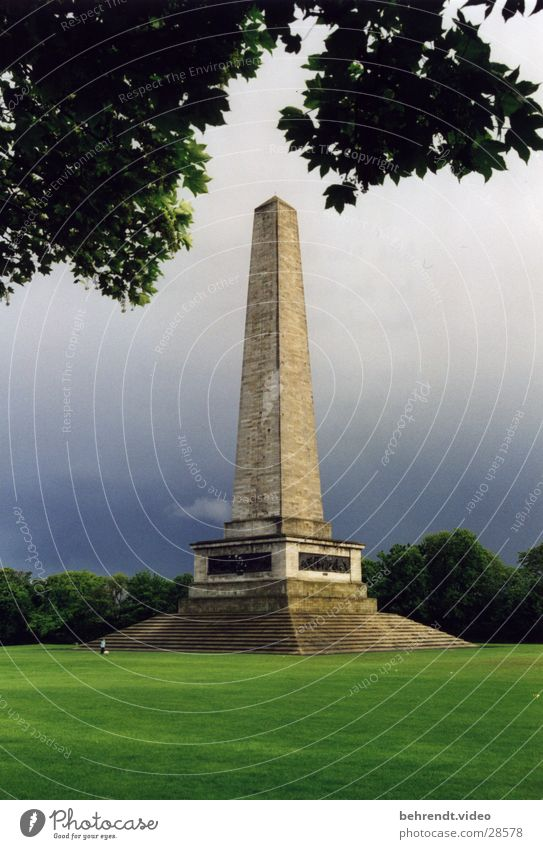 Obelisk in Dublin City Park Green Manmade structures Meadow Tree Leaf Geometry Ireland Lawn