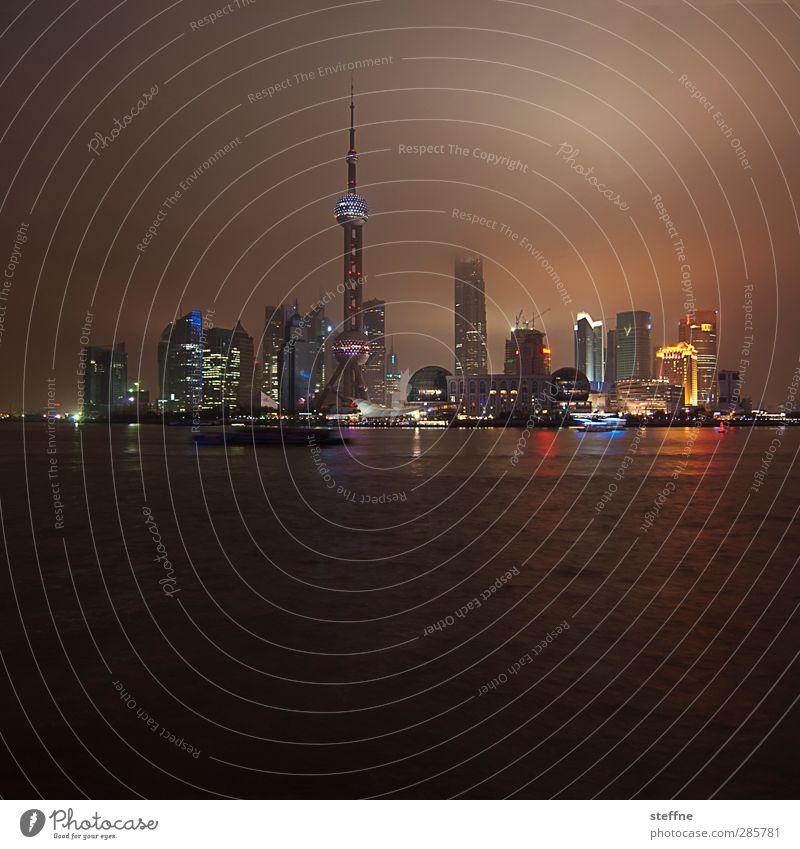 City Tall High-rise Skyline China Gigantic Night shot Shanghai Pu Dong