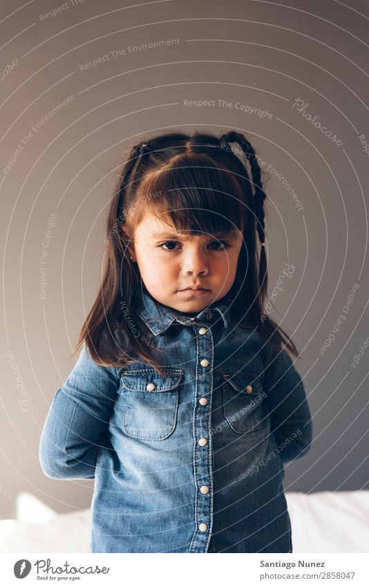 Portrait of beautiful sad girl. Girl Anger Crossed Child Portrait photograph portraiture Small Sadness Arm Lifestyle pretty sorry pouting Beautiful Human being