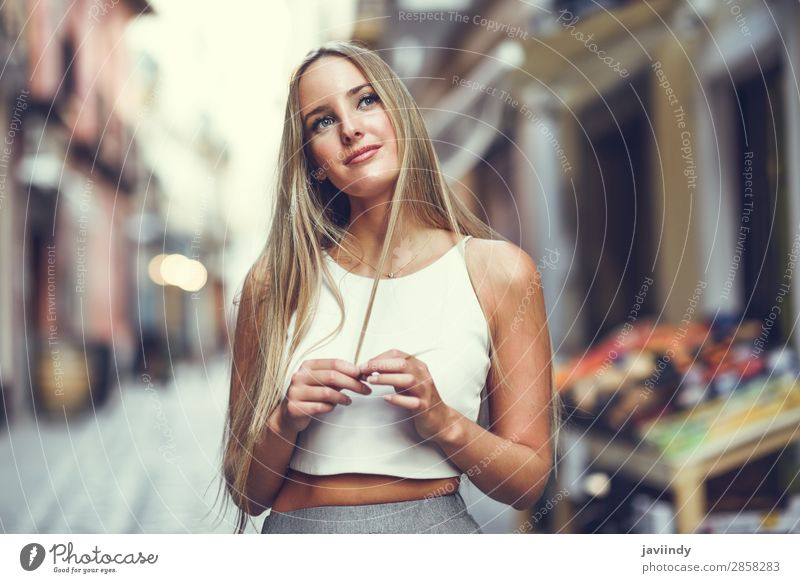 Beautiful young blonde woman in urban background. Lifestyle Elegant Style Happy Hair and hairstyles Summer Human being Feminine Young woman Youth (Young adults)