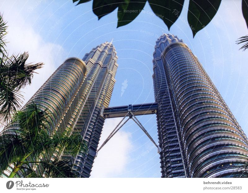 Architecture Building High-rise Modern Bridge Level Steel Upward Futurism Vertical Famousness Glas facade Malaya Steel construction Skyward