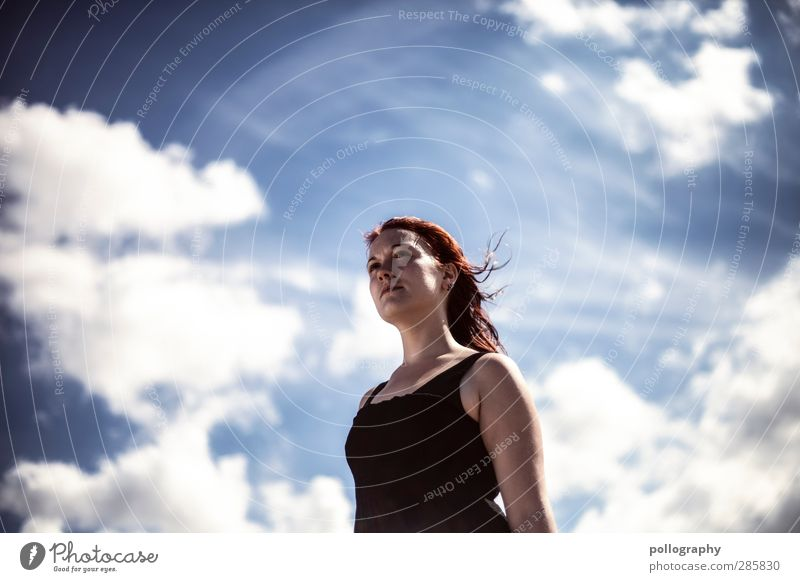 I believe I can fly Human being Feminine Young woman Youth (Young adults) Woman Adults Life 1 18 - 30 years Nature Air Sky Clouds Summer Climate