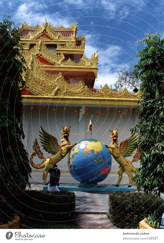 Religion and faith Gold Globe India Map Temple Malaya Penang