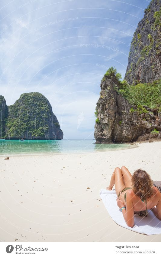Thailand - Ko Phi Phi Le - Maya Bay Krabi Phi Phi island Woman Bikini Thin Graceful Andaman Sea Vacation & Travel Idyll Freedom Card Tourism Travel photography