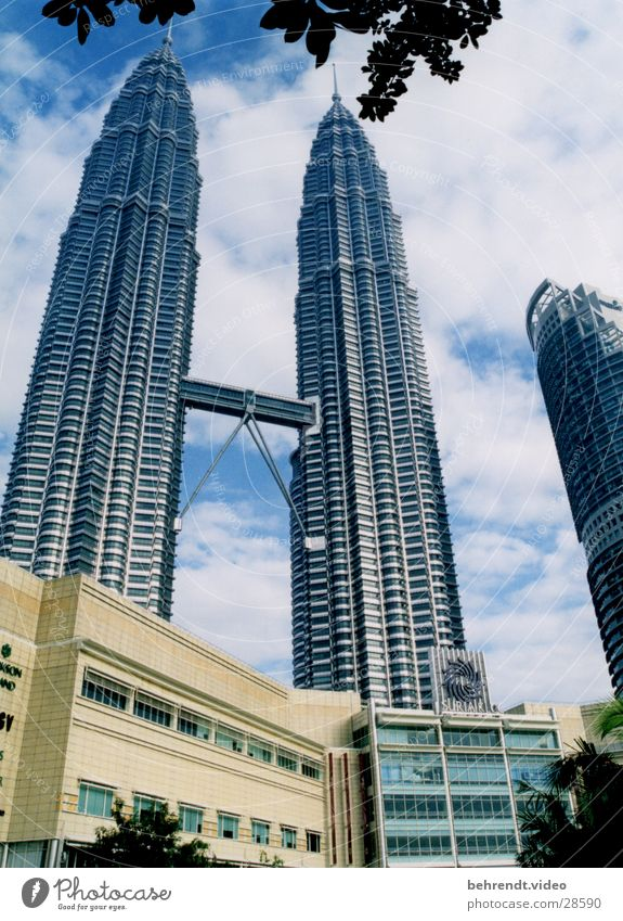 Petronas Towers with Suria KLCC Petronas Twin Towers Malaya Kuala Lumpur Steel Building High-rise Architecture Level Bridge Point Upward Skyward Famous building