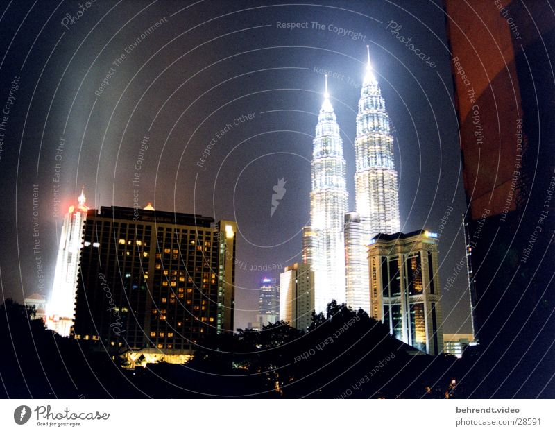 Architecture Building High-rise Night Point Skyline Illuminate Asia City Illumination Night shot Malaya Spire City light Petronas Twin Towers