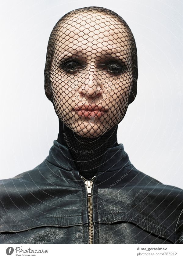 Mask Beautiful Human being Feminine Young woman Youth (Young adults) Woman Adults Head 1 18 - 30 years Coat Leather Brash Trashy Multicoloured Black Sadness