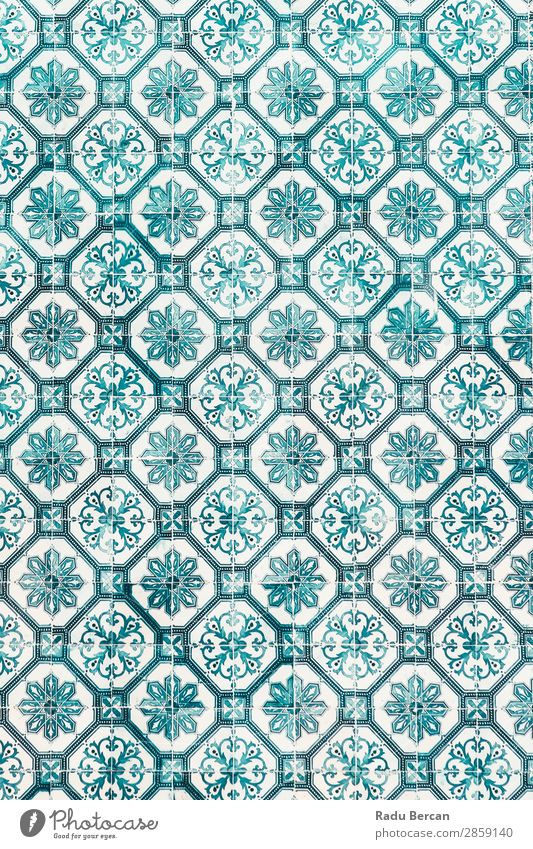 Blue Ceramic Wall Texture Or Azulejos In Lisbon, Portugal Style Design Decoration Wallpaper Art Town Building Ornament Old Retro Multicoloured Turquoise