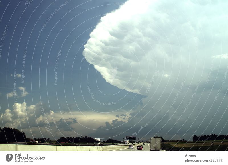 Sky Nature Blue White Clouds Dark Movement Gray Car Fear Dangerous Elements Threat Driving Sign Storm