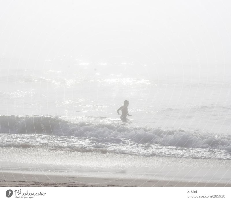 fog at sea Human being Child Water Summer Ocean Beach Movement Coast Freedom Funny Sand Swimming & Bathing Body Rain Infancy Waves