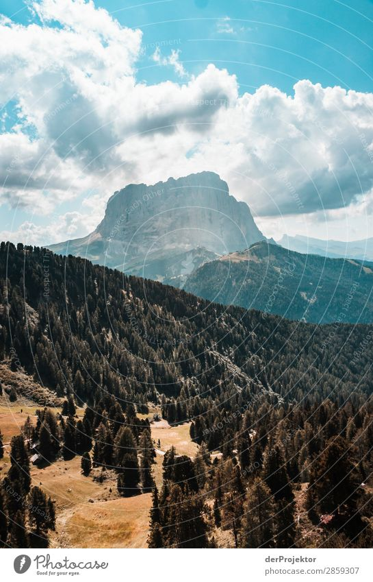 Clouds and shadows in the Dolomites with forest in portrait format Central perspective Deep depth of field Sunbeam Sunlight Light (Natural Phenomenon)