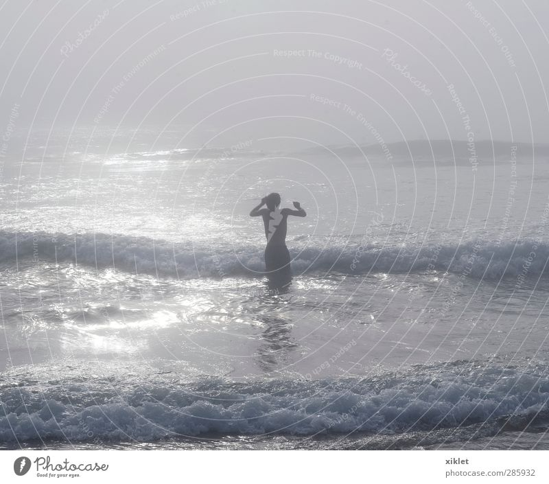 sea in thefog Human being Youth (Young adults) Water Summer Ocean Joy Beach Calm Relaxation Young man Coast Sand Swimming & Bathing Body Rain Waves