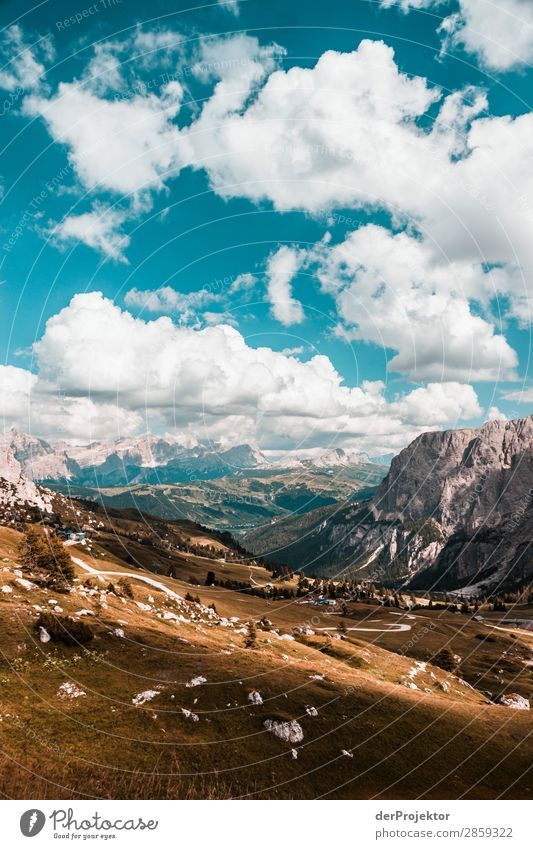 Clouds and shadows in the Dolomites with meadow III Central perspective Deep depth of field Sunbeam Sunlight Light (Natural Phenomenon) Silhouette Contrast