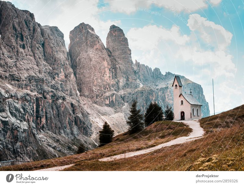 Clouds and shadows in the Dolomites with church I Central perspective Deep depth of field Sunbeam Sunlight Light (Natural Phenomenon) Silhouette Contrast Shadow