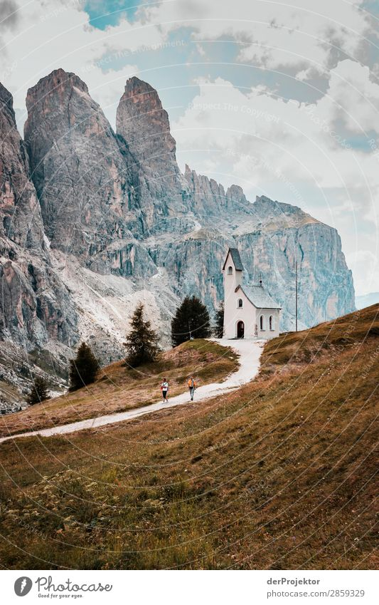 Clouds and shadows in the Dolomites with church III Central perspective Deep depth of field Sunbeam Sunlight Light (Natural Phenomenon) Silhouette Contrast