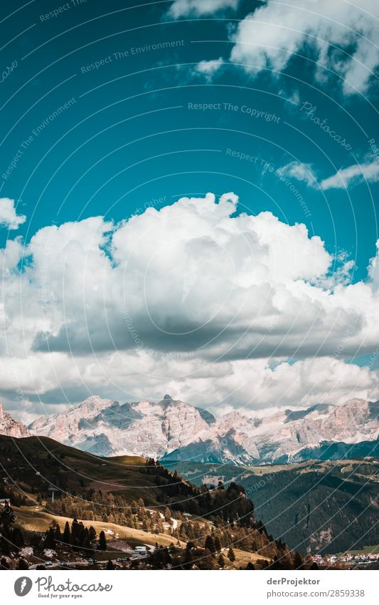 Clouds and shadows in the Dolomites portrait Central perspective Deep depth of field Sunbeam Sunlight Light (Natural Phenomenon) Silhouette Contrast Shadow Day