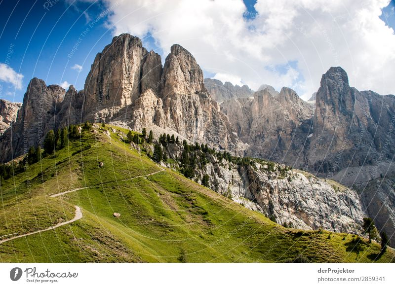 Clouds and shadows in the Dolomites with path Central perspective Deep depth of field Sunbeam Sunlight Light (Natural Phenomenon) Silhouette Contrast Shadow Day