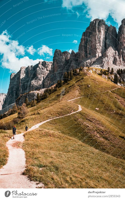 Clouds and shadows in the Dolomites with path in portrait format Central perspective Deep depth of field Sunbeam Sunlight Light (Natural Phenomenon) Silhouette