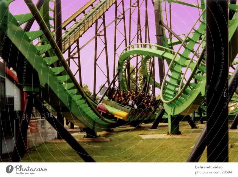 "Rollercoaster ""Cobra"" Roller coaster Green Stand Headache Montreal La Ronde  Amusement Park Leisure and hobbies drive standing up intamine"