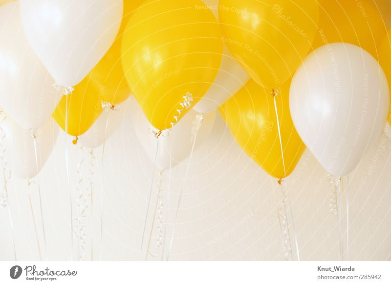 Balloons - baloons Feasts & Celebrations Birthday Bright Many Yellow White Joy Colour Attachment Multicoloured Hover String Party Two-tone Colour photo