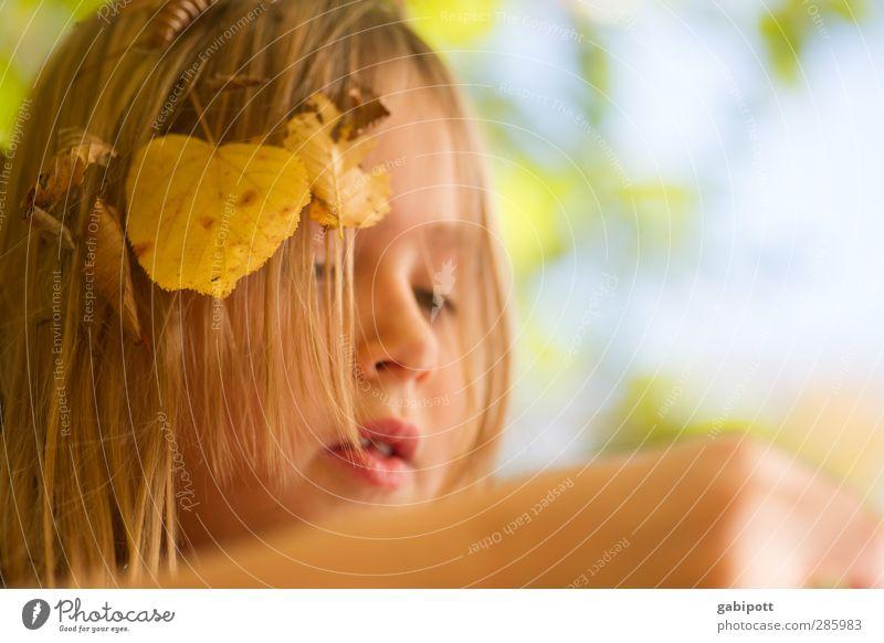 Human being Child Nature Blue Sun Girl Joy Leaf Face Yellow Life Feminine Autumn Playing Happy Head