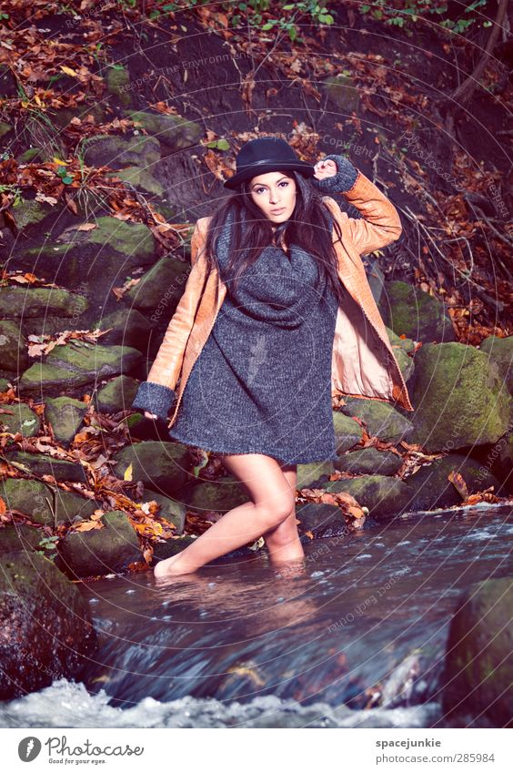 Human being Woman Nature Youth (Young adults) Blue Leaf Landscape Adults Environment Young woman Cold Autumn Feminine Movement Fashion 18 - 30 years