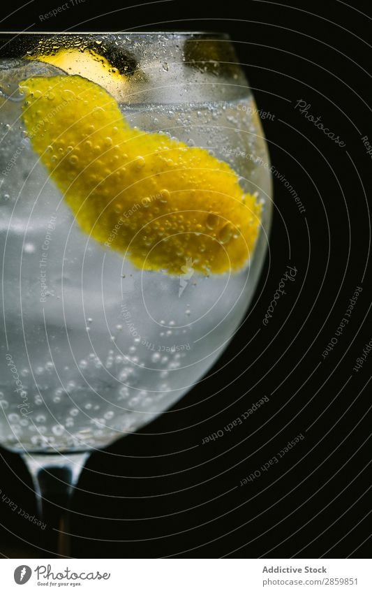 Gin tonic cocktail with lemon on dark background Alcoholic drinks Background picture barman bartender Beverage Bourbon Cocktail Cold Drinking Fresh garnish