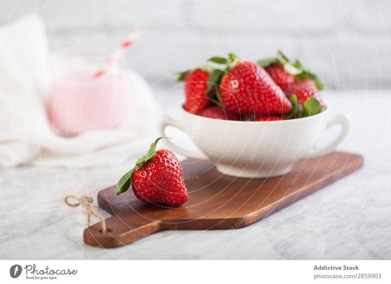 Fresh strawberries and strawberries milkshake Drinking Food Fruit Healthy Juicy Milk Milkshake