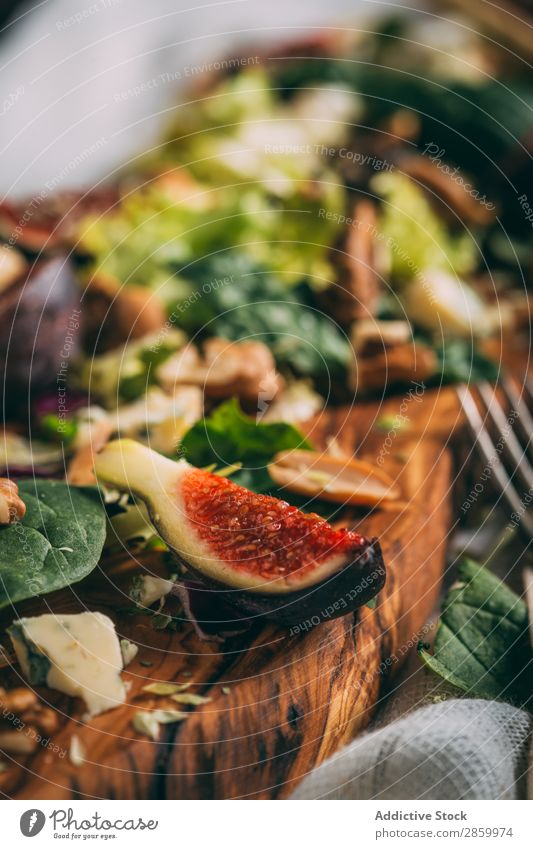 Healthy salad with lettuce, figs and nuts Appetizer Cheese Delicious Diet Fig Food Fresh Fruit grissini Lettuce Meal Napkin Natural Nut Organic Peanut Pear