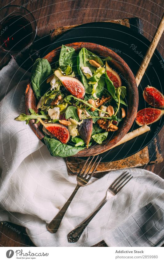 Healthy salad with lettuce, figs and nuts Appetizer Bowl Cheese Delicious Diet Fig Food Fresh Bird's-eye view Fruit grissini Lettuce Meal Napkin Natural Nut