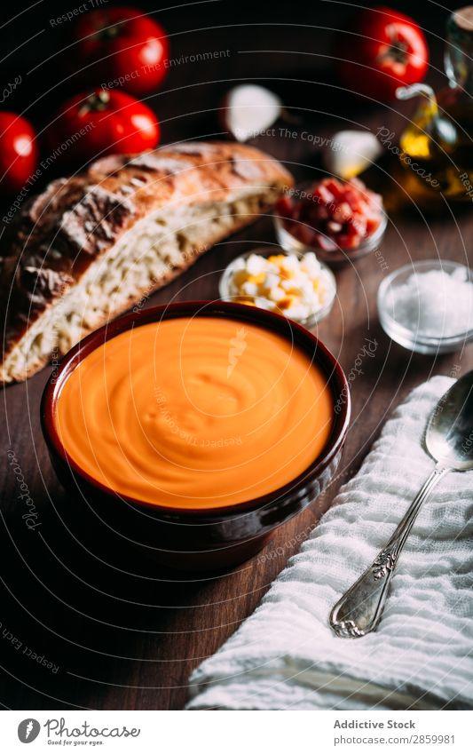 Typical spanish salmorejo Bread gazpacho Tomato Cream Soup Food Olive oil Spoon Table Wood Vegetable Egg jamon Ham Characteristic Spanish Cloth Garlic Natural