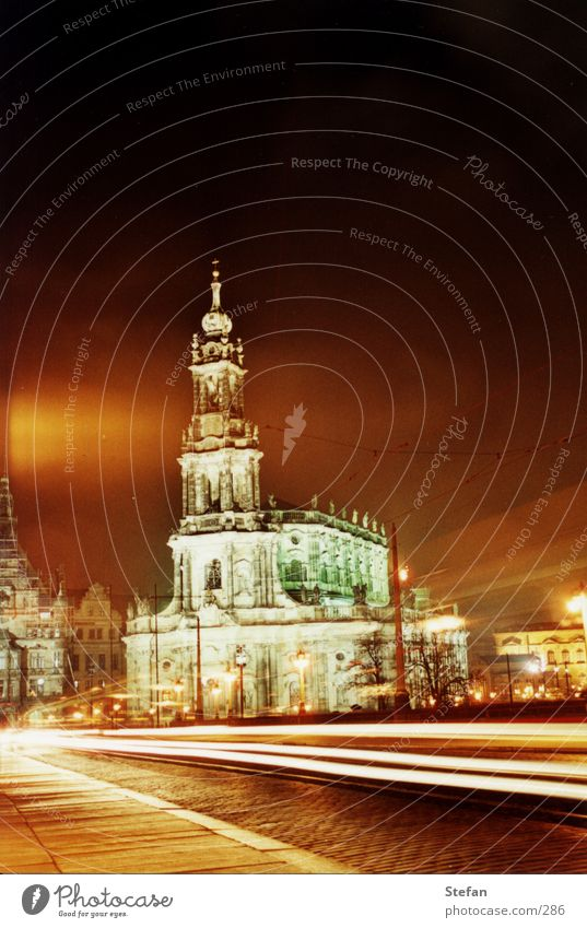 tradition Hofkirche Dresden Night Long exposure Religion and faith