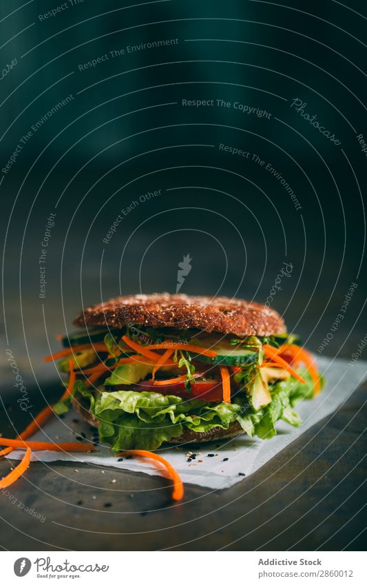 Vegetarian sandwich with lettuce, cucumber, carrot tomato and avocado Avocado bio Bread Roll burger Carrot Cucumber Delicious Deluxe Diet eco Ecological Food