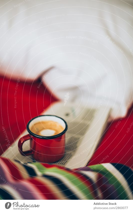 Espresso coffee in enamel cup on bed Aromatic Bed bed sheets Beverage Breakfast Brown Caffeine Coffee Cup Drinking Foam Food Hot Morning Sugar Sunlight Table