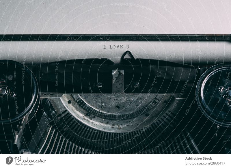 Close up of a retro typewriter Analog Antique Character Classic Close-up Conceptual design Creativity Journalist Keyboard Letters (alphabet) Love Lovers machine