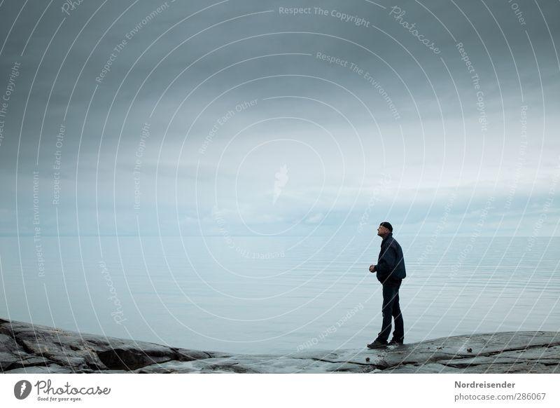 Human being Man Blue Water Ocean Calm Adults Far-off places Dark Coast Sadness Freedom Horizon Rain Adventure Elements