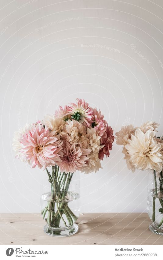 Bunches of flowers in vases on table Flower Table bunch kitchenware Bouquet Vase Water Wall (building) White Wood Grunge Glass Fresh Retro Plant Interior design