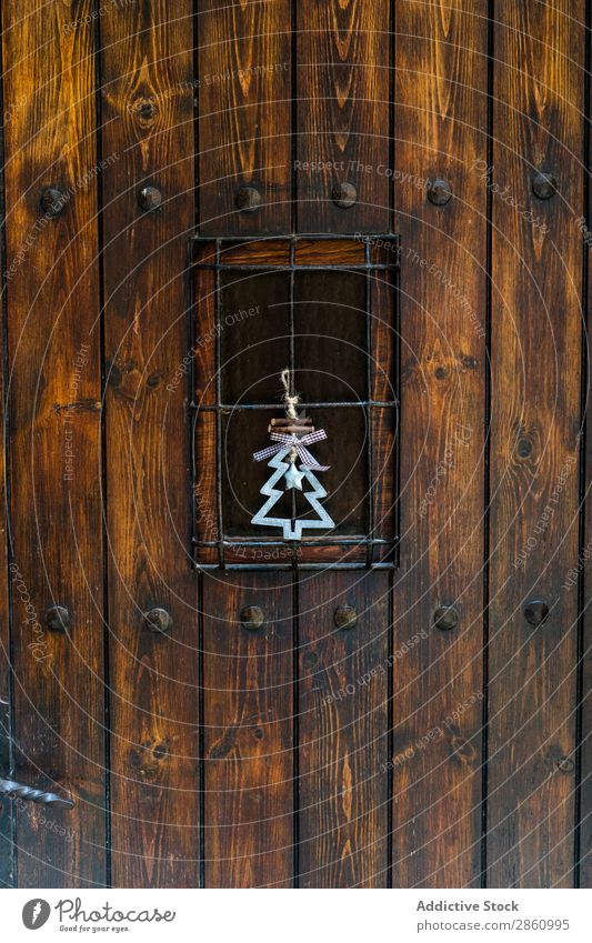 Wooden door with christmas decoration Barcelona Catalonia Mura Spain Barque Beautiful chill Christmas & Advent Christmas tree Landscape Day Decoration Door