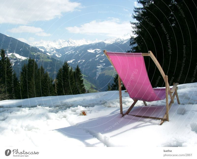 snow lounger Pink Tree Fir tree Snow Mountain Alps Hut Chair