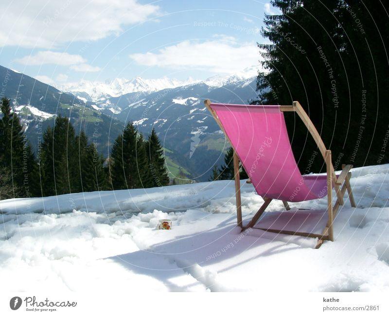 Tree Snow Mountain Pink Chair Alps Fir tree Hut