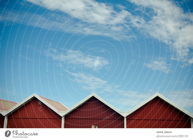 Swedish Red-White Vacation & Travel Tourism House (Residential Structure) Sky Summer Beautiful weather Göteborg Skerry Sweden Village Building Wall (barrier)