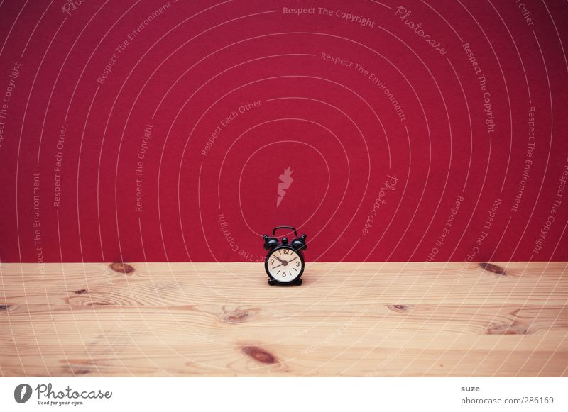 Red Wood Funny Small Style Time Clock Design Cute Planning Things Simple Clock face Sign Creativity Idea