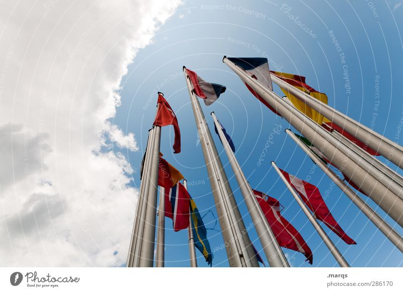 Sky Vacation & Travel Clouds Freedom Business Together Wind Tall Europe Perspective Many Sign Peace Flag Company Flagpole