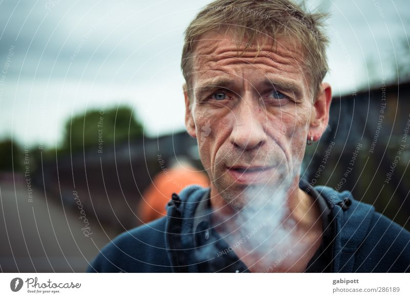 smoke Lifestyle Human being Masculine Man Adults 1 45 - 60 years Smoking Authentic Free Original Rebellious Trashy Town Blue Sadness Concern Loneliness