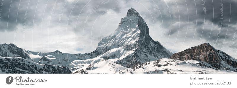 probably the most beautiful mountain Vacation & Travel Winter Snow Nature Landscape Mountain Matterhorn Peak Exceptional Elegant Europe Switzerland