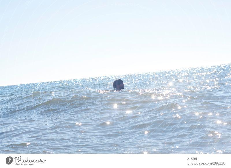 sea Joy Summer vacation Sun Beach Ocean Waves Aquatics Swimming & Bathing Young man Youth (Young adults) Head 1 Human being 30 - 45 years Adults Sand Coast