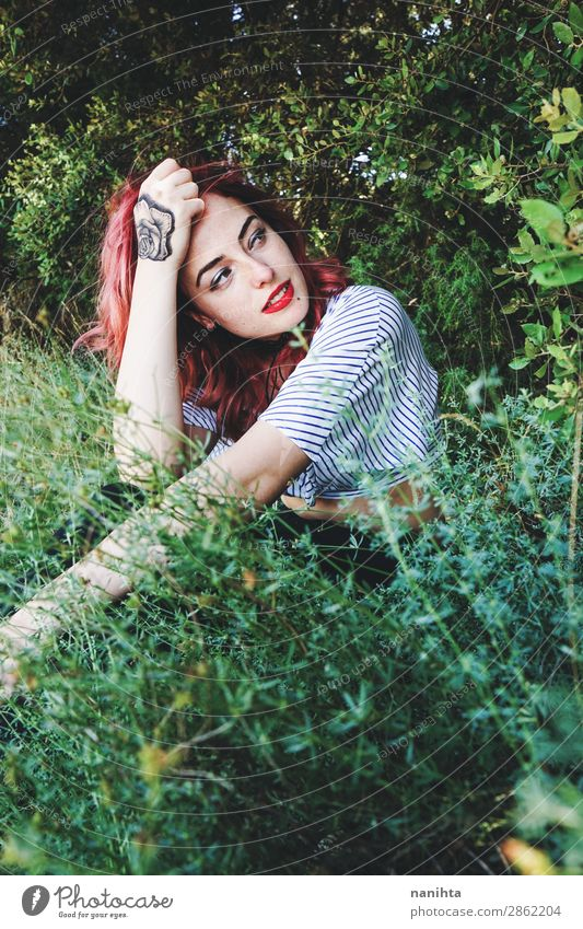 Young and beautiful redhead woman Woman Human being Nature Youth (Young adults) Young woman Plant Beautiful Green Eroticism Relaxation Forest 18 - 30 years Face
