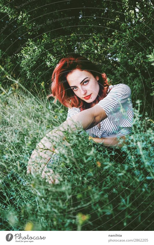 Young and beautiful redhead woman p Woman Human being Nature Youth (Young adults) Young woman Summer Plant Beautiful Green Relaxation Calm Forest Healthy